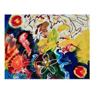 Artsy, abstract bohemian art postcard