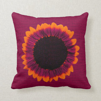 Artsy and Abstract Autumn Sunflower Throw Pillow