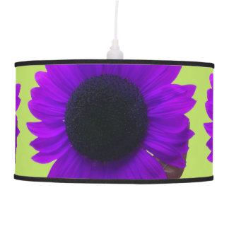 Artsy and Bright Purple Sunflower Blossoms Hanging Lamps