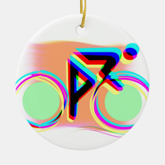 Artsy Bicycling Double-Sided Ceramic Round Christmas Ornament
