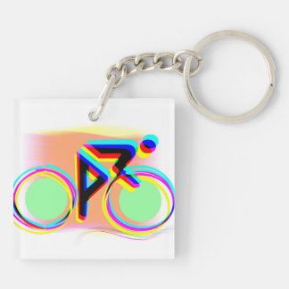 Artsy Bicycling Double-Sided Square Acrylic Keychain