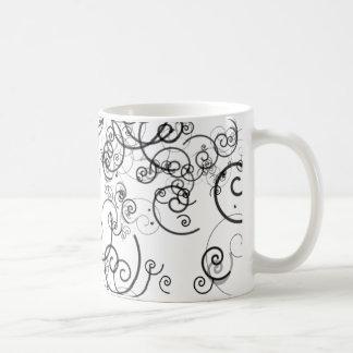 Artsy Black and White Swirls Doodles Modern Coffee Mug