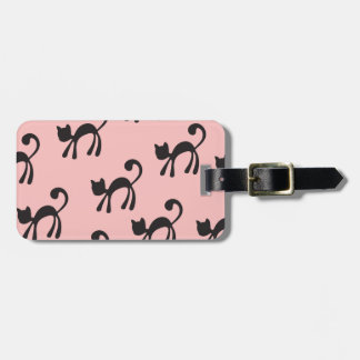 Artsy Black Cats on Pink Luggage Tag