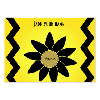 Artsy Black Daisy on Yellow Large Business Card