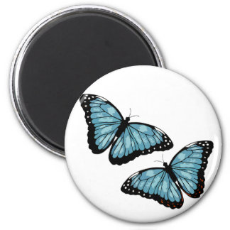 Artsy Blue Butterflies 2 Inch Round Magnet