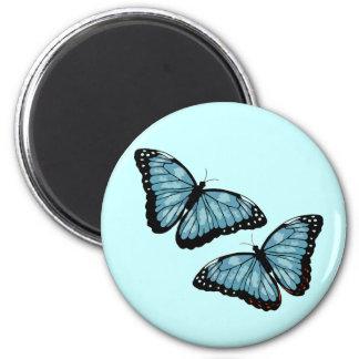 Artsy Blue Butterflies 2 Inch Round Magnet