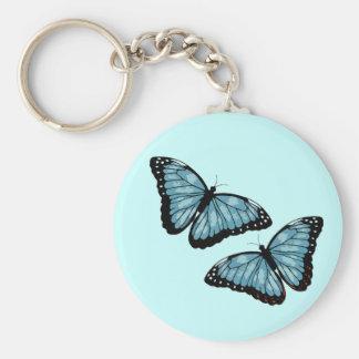Artsy Blue Butterflies Basic Round Button Keychain