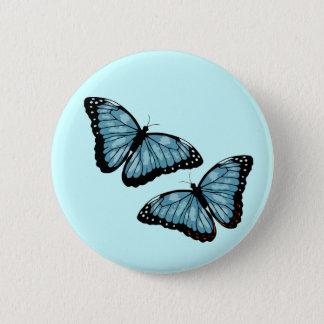 Artsy Blue Butterflies Pinback Button