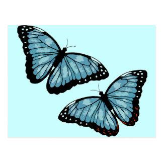 Artsy Blue Butterflies Post Card