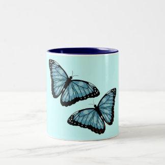 Artsy Blue Butterflies Two-Tone Coffee Mug