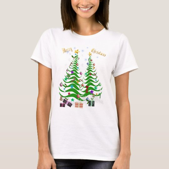 Artsy Christmas Tree and Decorations-lettered T-Shirt