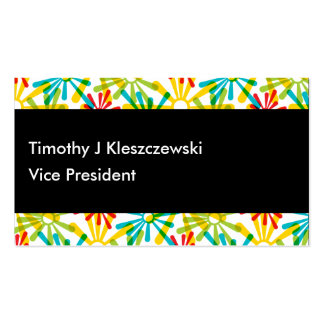 Artsy colorful rounded paint starbursts business card