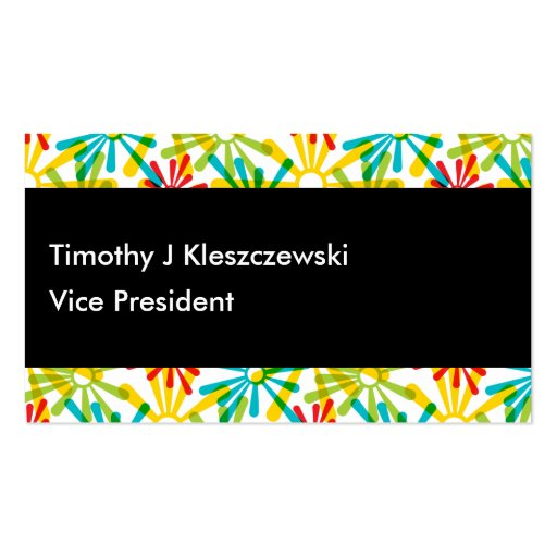 Artsy colorful rounded paint starbursts business card zazzle for Artsy business cards