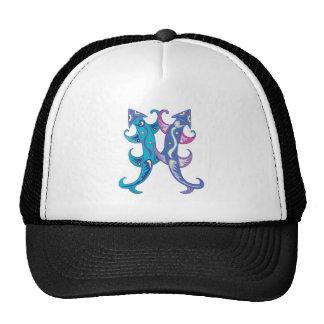 artsy colorful squid design trucker hat