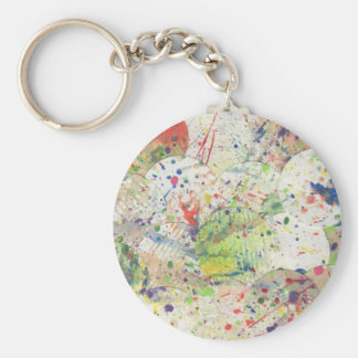 Artsy Confetti Abstract Grunge Colorful Splattered Basic Round Button Keychain