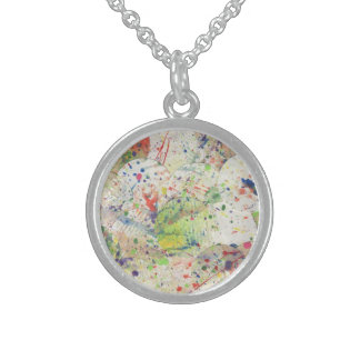 Artsy Confetti Abstract Grunge Colorful Splattered Sterling Silver Necklace