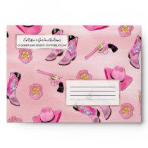 Artsy Cute Girly Pink Teal Cowgirl Watercolor Envelope