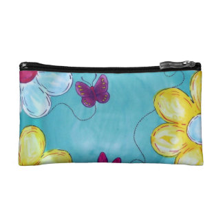 Artsy Daisies and Butterfly Cosmetic Bag