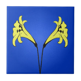 Artsy Easter Lilies on Blue Tile