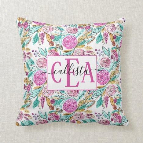 Artsy Elegant Pink Teal Floral Watercolor Monogram Throw Pillow