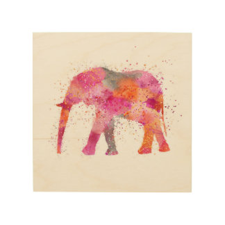 Artsy Elephant Wood Print