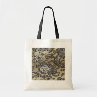 Artsy Embossed Black Gold Flowers Tote Bags