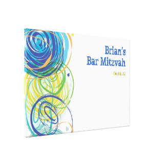 ARTSY FARTSY Bar Bat Mitzvah Sign-In Board Canvas Print