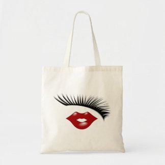 Artsy Feminine Chic Eyelashes & Lips Designer Tote Bag