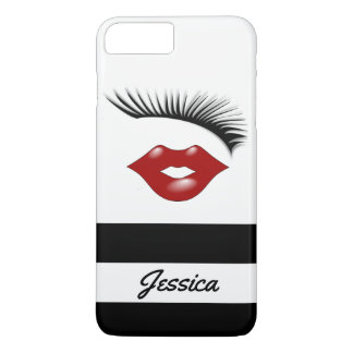 Artsy Feminine Chic Eyelashes Red Lips Pesonalized iPhone 8 Plus/7 Plus Case