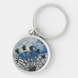 Artsy Ferris Wheel Silver-Colored Round Keychain