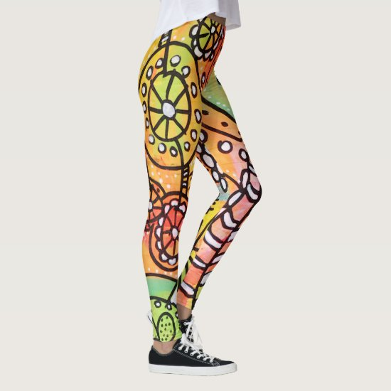 Artsy Floral Circles Stripes Yellow Orange Green Leggings