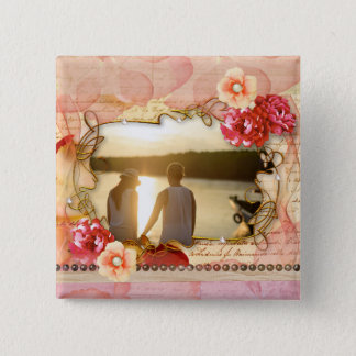 Artsy Floral Photo Frame Square Button