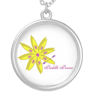 artsy flower kayak silver plated necklace
