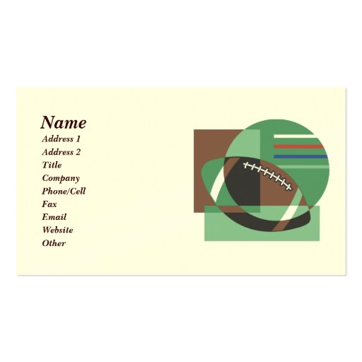 Artsy football business cards zazzle for Artsy business cards