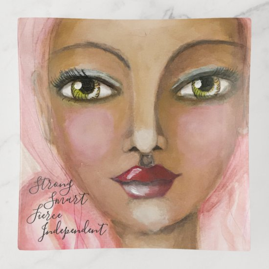 Artsy Girl Green Eyes Pink Beautiful Whimsical Fun Trinket Trays