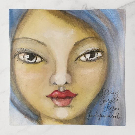 Artsy Girl Portrait Whimsical Woman Blue Cute Fun Trinket Trays