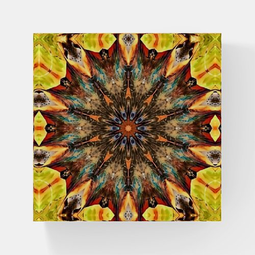 Artsy Gold Brown Flower Mandala Style Paperweight