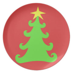 Artsy Green Christmas Tree on Red Party Plate