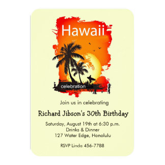 Artsy Hawaii Beach Sunset Party Invitation