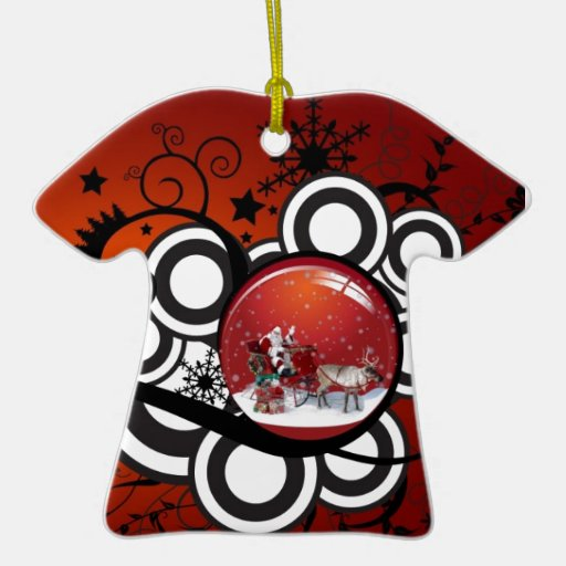Artsy Holiday Card Double-Sided T-Shirt Ceramic Christmas Ornament