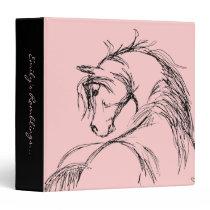 Artsy Horse Head Sketch 3 Ring Binder