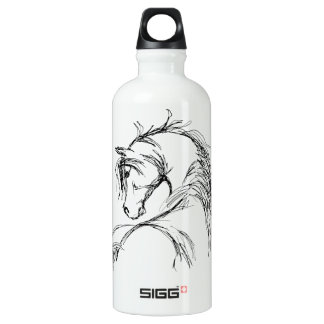 Artsy Horse Head Sketch Aluminum Water Bottle