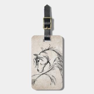 Artsy Horse Head Sketch Bag Tag