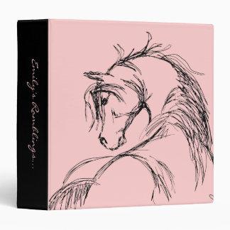 Artsy Horse Head Sketch 3 Ring Binders