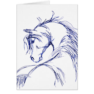 Artsy Horse Head Sketch Stationery Note Card