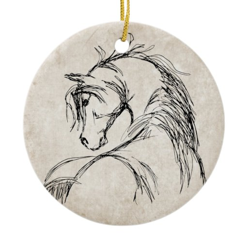Artsy Horse Head Sketch Double-Sided Ceramic Round Christmas Ornament | Zazzle