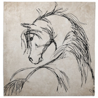 Artsy Horse Head Sketch Cloth Napkin