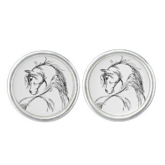 Artsy Horse Head Sketch Cufflinks