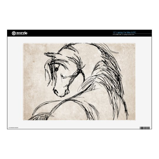 Artsy Horse Head Sketch Decals For Laptops