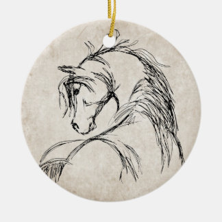 Artsy Horse Head Sketch Double-Sided Ceramic Round Christmas Ornament